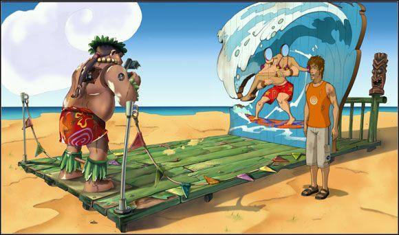 Stojący w pobliżu automat do pamiątkowych fotografii mógł się przydać do zrobienia zdjęcia Briana - Surfując na Mala (4) - Rozdział II - Runaway 2: Sen Żółwia - poradnik do gry