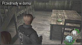 W domu rozrzucone będą różne przedmioty, i tak: żółte zioło znajduje się na szafce koło drzwi wejściowych (zdjęcie), amunicja do strzelby na stole (zdjęcie), czerwone zioło na parterze pod schodami, zielone zioło koło barierki na piętrze, granaty na półkach na piętrze - Village (2-2) - obrona domu - Resident Evil 4 - PC - poradnik do gry
