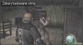 Na początku zasłoń trzy okna stojącymi obok regałami, dzięki temu przeciwnicy pojawiać będą się w mniejszych ilościach - Village (2-2) - obrona domu - Resident Evil 4 - PC - poradnik do gry