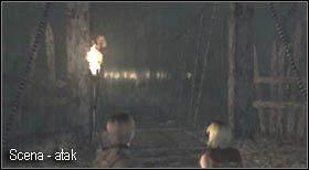 Na końcu mostu załączy się scenka, w której dojdzie do zmasowanego ataku wieśniaków - Village (2-2) - obrona domu - Resident Evil 4 - PC - poradnik do gry