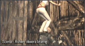 Zanim ta dobiegnie pozbieraj przedmioty z małej szopy i dezaktywuj kilka pułapek pod bramą - Village (2-2) - eskorta Ashley - Resident Evil 4 - PC - poradnik do gry