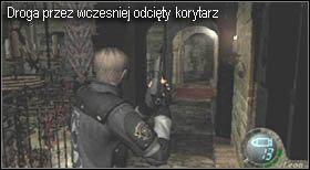 otwarcie bram w prawej części balkonu, na którym się aktualnie znajdujesz - Village (2-1) - kościół i spotkanie Ashley - Resident Evil 4 - PC - poradnik do gry