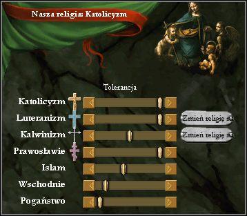 Tutaj ustawiamy poziom tolerancji jakim będą się cieszyć wyznawcy różnych religii w naszym państwie - Stabilność, kultury i religia - Zarządzanie państwem - Europa Universalis III - poradnik do gry