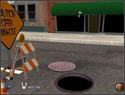 Kilka oddanych w odpowiednim momencie strzałów sprawiło, że spanikowane złodziejaszki wpadły do otwartej studzienki - Operacja pianka do golenia - II. Situation Comedy - Sam & Max: Sezon 1 - poradnik do gry