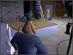 Wewnątrz czekała na nich niemiła niespodzianka w postaci zblazowanej pani reżyser, która stwierdziła, że do dalszych pomieszczeń nie wpuści nikogo, kto nie jest aktorem - Operacja pianka do golenia - II. Situation Comedy - Sam & Max: Sezon 1 - poradnik do gry