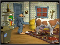 Zniecierpliwione i przestraszone zwierzę zamuczało, co nie umknęło uwadze gospodarza - Gwiazdy małego ekranu, część I - Miejscy kowboje - II. Situation Comedy - Sam & Max: Sezon 1 - poradnik do gry