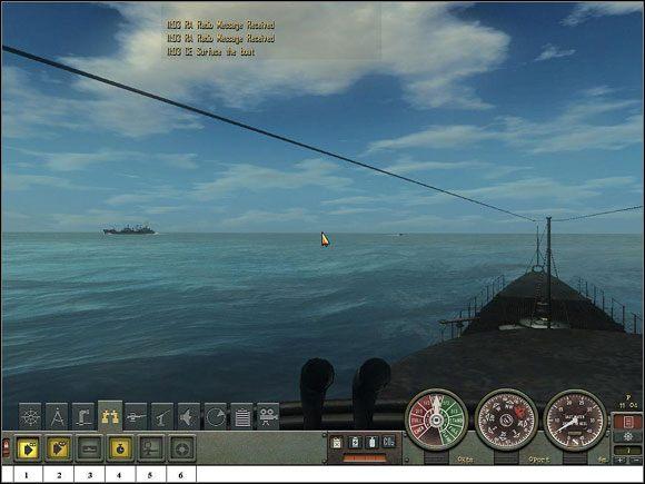 Widok z pomostu bojowego kiosku okrętu podwodnego. - Sekcja II - Panel Rozkazów - Bridge - Aparatura pokładowa - Silent Hunter 4: Wolves of the Pacific - poradnik do gry