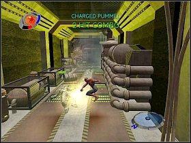 Przeskocz przez płomienie i udaj się do przejścia na końcu korytarza [1] - Part 4 - Caryles Plan - Mad Bomber - Spider-Man 3: The Game - poradnik do gry