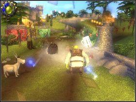 Zniszcz znak z lewej strony i podnieś pierwszy kufel - [Solucja] Etap 4 - Stare ruiny - Shrek Trzeci - poradnik do gry