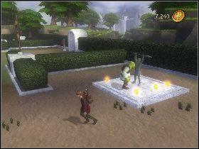 Zacznij rozprawiać się z wiedźmami oraz niszczyć zielone posągi ustawione po okręgu - [Solucja] Etap 6 - Teren Akademii - Shrek Trzeci - poradnik do gry