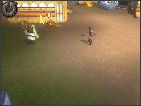 Na samej górze zniszcz skrzynie z lewej strony, podnieś kubek [1] i przesuń drewnianą dźwignię - [Solucja] Etap 6 - Teren Akademii - Shrek Trzeci - poradnik do gry