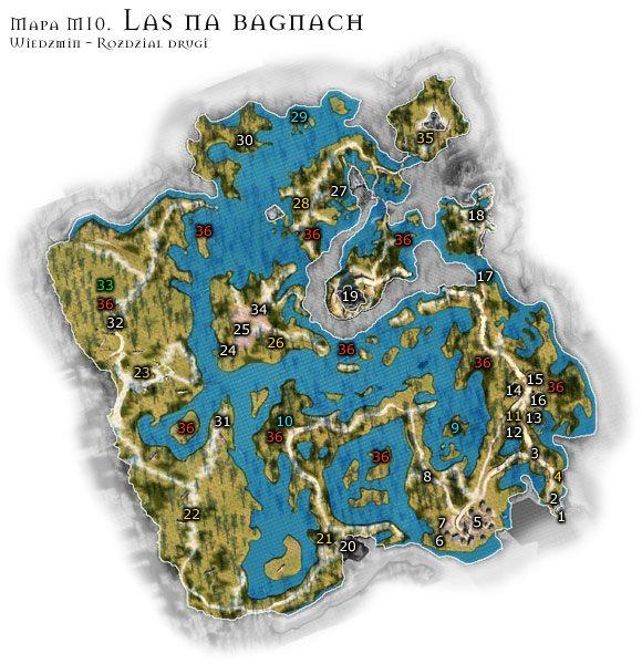 Las na bagnach jest lokacj� niebezpieczn� przez ca�� dob� - M10: Las na Bagnach - Mapa - Wied�min - poradnik do gry
