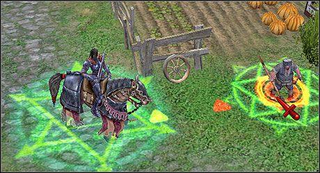 Zamaskowane jednostki poznasz po zielonej aurze pod ich stopami, tak jak pod naszym herosem. - Misja 3 - The Bull's Wake - Kampania 2 - Heroes of Might & Magic V: Dzikie Hordy - poradnik do gry