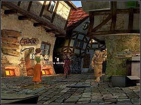 Wbiegłszy tam, chłopak natyka się na podpitego Wilka, podpierającego ścianę na wprost baru - Uratować Magiczne Królestwo cz.4 - Simon the Sorcerer 4 - poradnik do gry