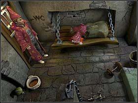 Pora stworzyć kukłę, zatem nasz bohater opuszcza celę Loczka i wraca do swojej - Uratować Magiczne Królestwo cz.5 - Simon the Sorcerer 4 - poradnik do gry