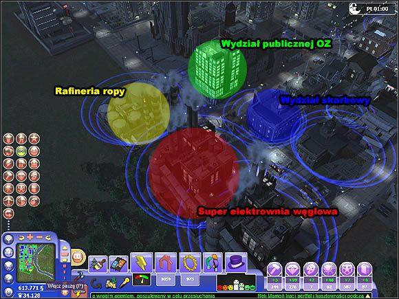Niebieskie kręgi wyznaczają zasięg działania budynków. - Wpływ budynków na otoczenie - Projektowanie miasta - SimCity Społeczności - poradnik do gry