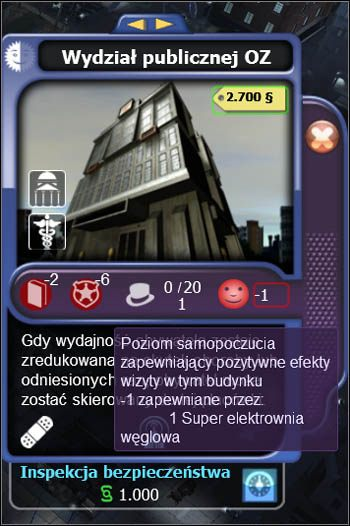 Standardowo wydział publicznej OZ nie wywiera żadnego wpływu na samopoczucie Simów wizytujących ten budynek - Wpływ budynków na otoczenie - Projektowanie miasta - SimCity Społeczności - poradnik do gry