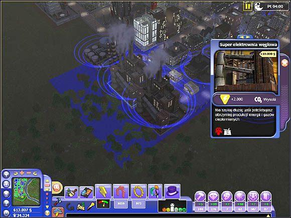 Niebieskie pole oznacza zasięg działania elektrowni - Wpływ budynków na otoczenie - Projektowanie miasta - SimCity Społeczności - poradnik do gry