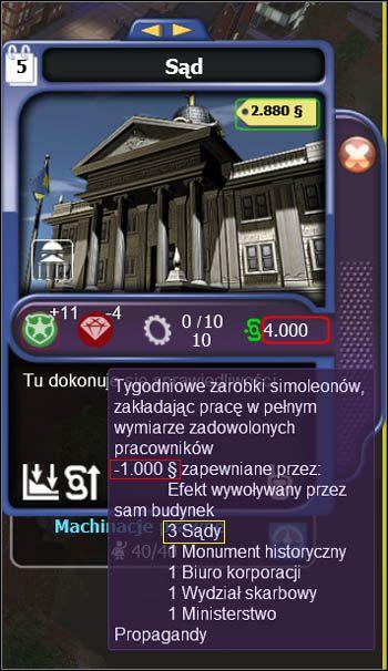 Czerwoną obwódką oznaczyłem ogólną zmianę zarobków budynków w stosunku do kwoty standardowej, tj - Ekonomiczne konsekwencje rozmieszczania budynków - Projektowanie miasta - SimCity Społeczności - poradnik do gry