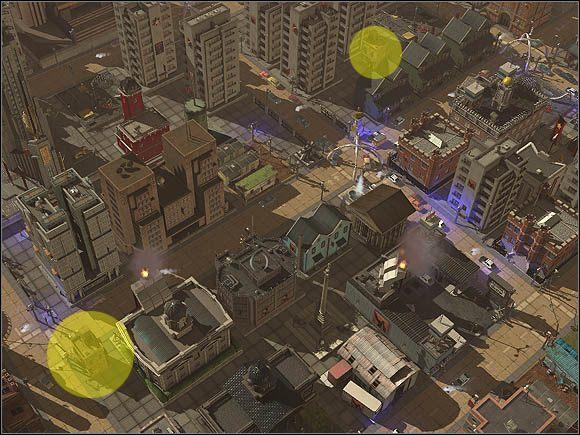 Na żółto zaznaczono takie same sklepiki. Sklep w lewym dolnym rogu obrazka teoretycznie powinien mieć więcej klientów z racji tego, że znajduje się przy skrzyżowaniu. Tak też się dzieje, lecz owa różnica to tylko jeden klient dziennie więcej niż w sklepiku w górnej części obrazka. - Gospodarowanie przestrzenią - Projektowanie miasta - SimCity Społeczności - poradnik do gry