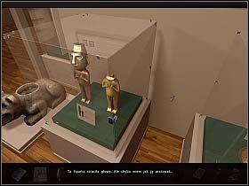 W sali wystawowej przyjrzyj się złotym figurkom (niemal na wprost wyjścia z oranżerii) - Muzeum Sztuki Prekolumbijskiej - Dzień 2 - Art of Murder: Sztuka Zbrodni - poradnik do gry