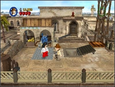 Po drugiej stronie zniszcz niebieską barierkę i zbuduj most - Chapter 3 - City of Danger (cz.3) - Poszukiwacze Zaginionej Arki - LEGO Indiana Jones: The Original Adventures - poradnik do gry