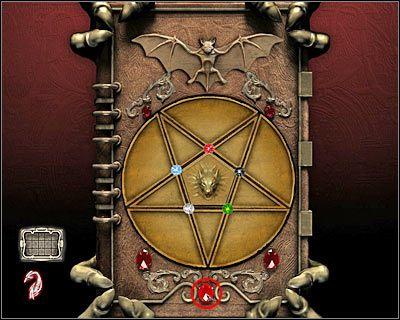 Pierwsza faza zakłada doprowadzenie do wyświetlenia pięciu symboli, które mają pojawić się wewnątrz niewielkich trójkątów - Posiadłość Godalmingów (cz.5) - Londyn - Dracula: Początek - poradnik do gry