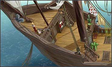 Przebudzona brutalnie Sunny maszeruje na pokład, a tam na dziób statku (w lewo), gdzie ze sterty pustych butelek po rumie zabiera jedną - Rynek, Śródmieście | Rozdział drugi - So Blonde: Blondynka w opałach - poradnik do gry