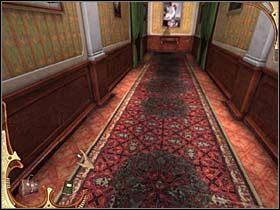 Spenetrowawszy wstępnie salon, Holmes wychodzi na korytarz - [Opis przejścia] Część druga (2) - Sherlock Holmes: Tajemnica Mumii - poradnik do gry