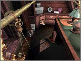 Wreszcie detektyw podchodzi do okna i wyjrzawszy przez nie, widzi zbiegającą z dachu postać - [Opis przejścia] Część druga (3) - Sherlock Holmes: Tajemnica Mumii - poradnik do gry