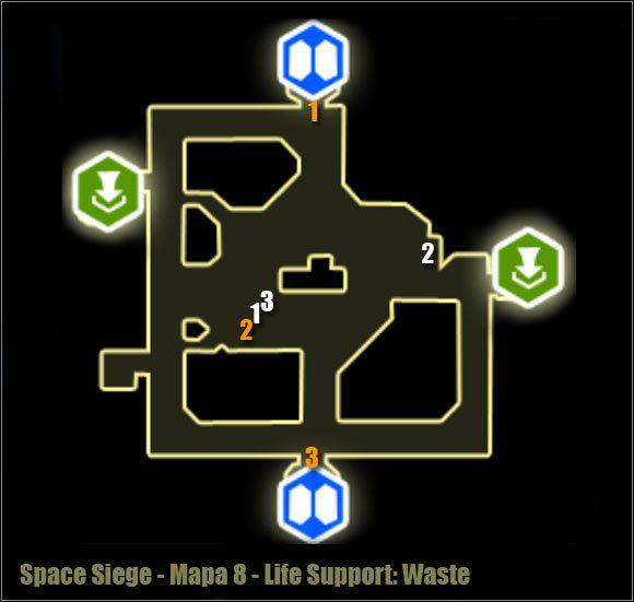 Uwaga - Life Support Waste - Mapa okolicy - Poziom 8 - Space Siege - poradnik do gry