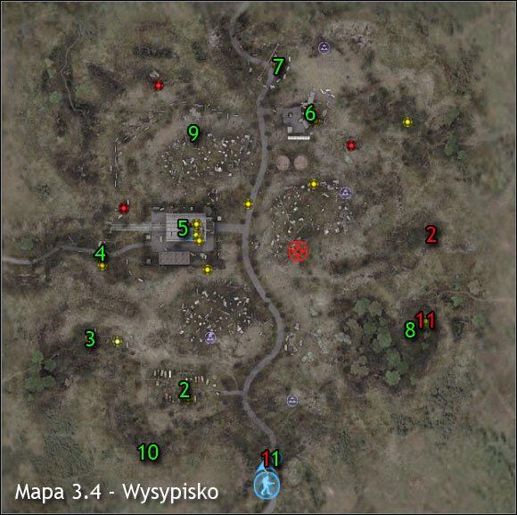 Najważniejsi NPC na mapie (kolor czerwony) - Mapy szczegółowe (cz.1) - Wysypisko - S.T.A.L.K.E.R.: Czyste Niebo - poradnik do gry