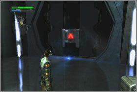 Po wskoczeniu na statecznik rozbitego w hangarze promu możesz przeskoczyć na wyższą rampę - Misja 01 - TIE Fighter Factory (cz.1) - Star Wars: The Force Unleashed - poradnik do gry