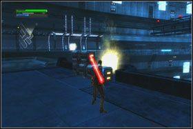 Pośrodku korytarza znajdziesz szyb windy - Misja 01 - TIE Fighter Factory (cz.1) - Star Wars: The Force Unleashed - poradnik do gry