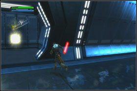 Po przeskoczeniu na drugą stronę rampy natkniesz się na żołnierzy Koty uzbrojonych w energetyczne pręty - Misja 01 - TIE Fighter Factory (cz.2) - Star Wars: The Force Unleashed - poradnik do gry