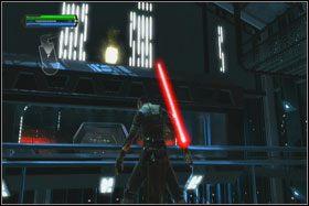 Wzdłuż ścian transportowane są w górę panele maszyn TIE - Misja 01 - TIE Fighter Factory (cz.2) - Star Wars: The Force Unleashed - poradnik do gry