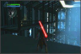 Dojdziesz do niego jedną z dwu prowadzących przy ścianie ramp - Misja 01 - TIE Fighter Factory (cz.2) - Star Wars: The Force Unleashed - poradnik do gry