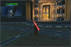 Drogę do następnego pomieszczenia zablokuje Ci bariera energetyczna - Misja 01 - TIE Fighter Factory (cz.3) - Star Wars: The Force Unleashed - poradnik do gry