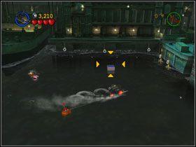 Zaczep hak u podnóża latarni, a nad statkiem pojawi się Kanister (#1) - Batboat Battle (cz.1) - Heros Episode 2 - LEGO Batman: The Videogame - poradnik do gry