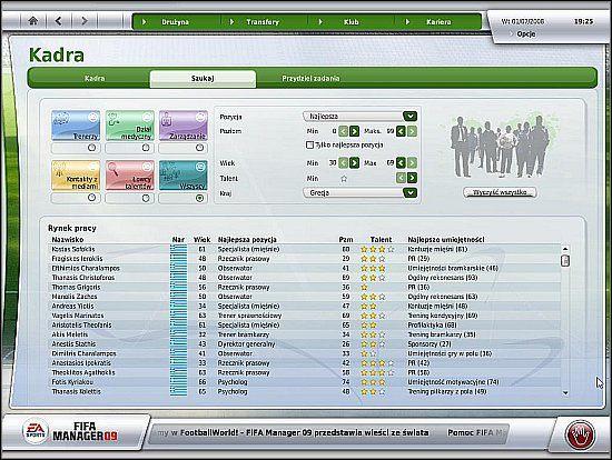 Po przejściu do karty szkoleniowca (LPM na jego nazwisku, a potem LPM na Informacje o pracownikach) można skonfigurować obciążenie pracą - Kadra i podział obowiązków (cz.1) - Drużyna - FIFA Manager 09 - poradnik do gry