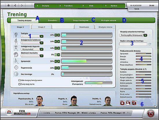 Zdolności taktyczne drużyny ilustrowane są w postaci pasków, które znajdują się w prawym-dolnym obszarze ekranu treningu (5) - Trening i zdolności taktyczne drużyny (cz.1) - Drużyna - FIFA Manager 09 - poradnik do gry