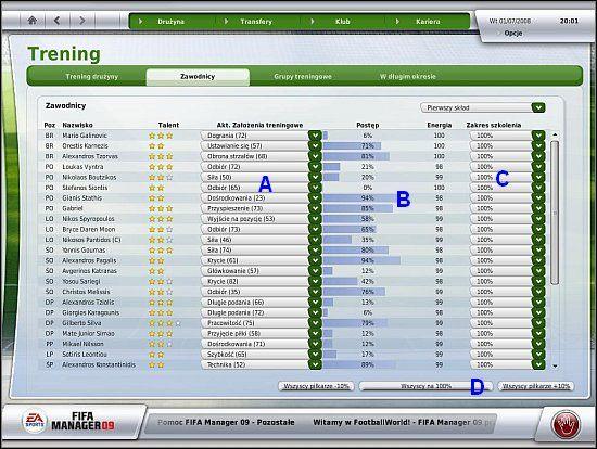 Oprócz rozdziału czasu treningowego na zagadnienia treningowe, istnieje również możliwość doboru indywidualnych celów treningowych (A), a także odrębnego natężenia treningów (C) dla każdego z graczy - Trening i zdolności taktyczne drużyny (cz.1) - Drużyna - FIFA Manager 09 - poradnik do gry