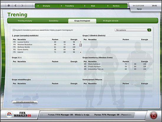 Piłkarze trenują w grupach - Trening i zdolności taktyczne drużyny (cz.1) - Drużyna - FIFA Manager 09 - poradnik do gry