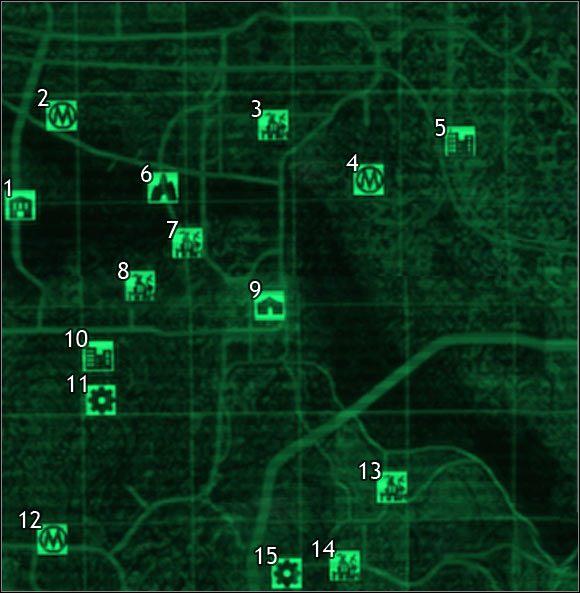 Oznaczenia na mapie - Mapa szczegółowa pustkowi - Sektor 5, 6 - Świat gry - Fallout 3 - poradnik do gry