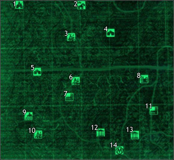 Oznaczenia na mapie - Mapa szczegółowa pustkowi - Sektor 7, 8 | Świat gry - Fallout 3 - poradnik do gry