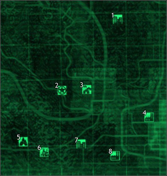 Oznaczenia na mapie - Mapa szczegółowa pustkowi - Sektor 7, 8 - Świat gry - Fallout 3 - poradnik do gry