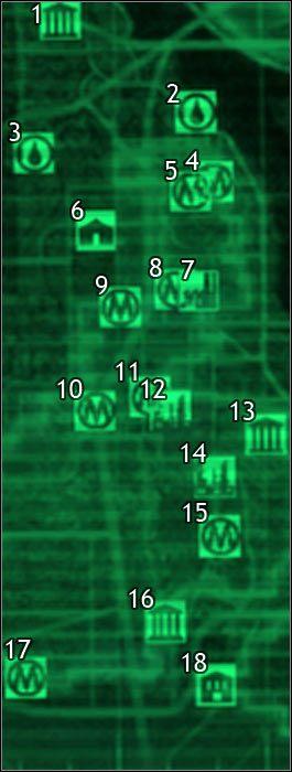 Oznaczenia na mapie - Mapa szczegółowa pustkowi - Sektor 9, 10 | Świat gry - Fallout 3 - poradnik do gry