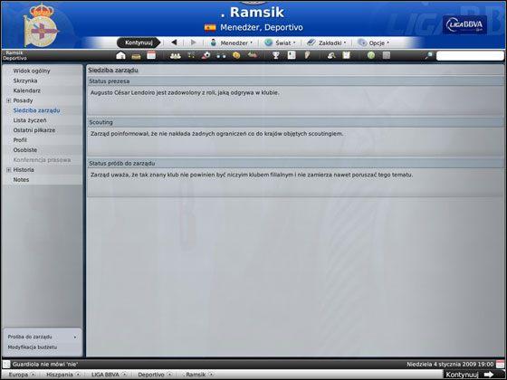 Pierwszy ekran, który powinien Cię zainteresować, to Siedziba zarządu - Początek gry - Podstawowe funkcje - Football Manager 2009 - poradnik do gry