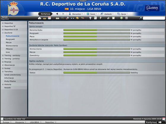 Ten ekran to kompilacja opinii zarządu oraz kibiców na temat twojego stylu prowadzenia klubu - Początek gry - Podstawowe funkcje - Football Manager 2009 - poradnik do gry