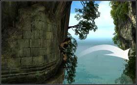 Obejdź skałę dookoła i przejdź maksymalnie w lewą stronę - Coastal Thailand - Remnants (cz.1) - Solucja - Tomb Raider: Underworld - poradnik do gry